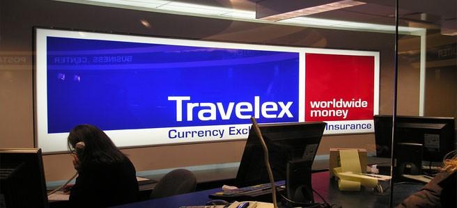 Travelex interior sign display